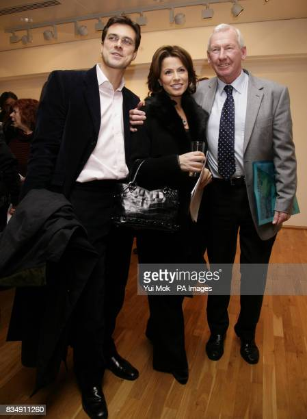 Justin Bower Natasha Kaplinsky and former goalkeeper Bob Wilson during the launch of the 'Stars on Canvas' Exhibition at the SW1 Gallery in central...