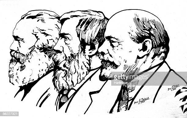From left to right Karl Marx Friedrich Engels and Lenin