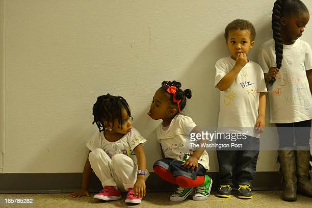 MARCH 24 from left to right KaSiah Clark Allison White Malachi Jones and Lyric Hurd 4 wait in line to take the stage for the 3rd Annual Glynn...