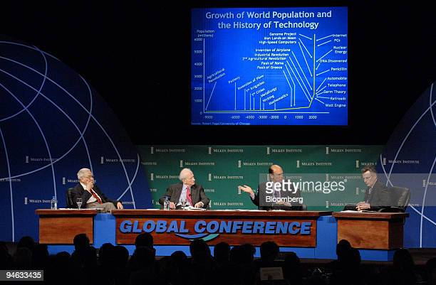 From left to right: Kenneth Arrow, Nobel Laureate in Economic Sciences and Professor Emeritus at Stanford University, Gary Becker, recipient of the...
