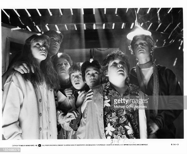 From left to right Kerri Green Josh Brolin Corey Feldman Sean Astin Ke Huy Quan Jeff Cohan and Martha Plimpton in a scene from the film 'Goonies' 1985