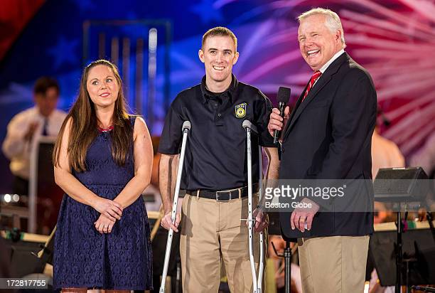 From left to right Kim Donohue wounded Massachusetts Bay Transportation Authority Officer Richard 'Dic' Donohue Jr and Jack Williams stood on stage...