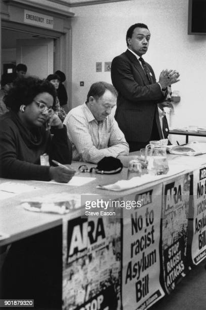 From left to right Labour MPs Diane Abbott Ken Livingstone and Paul Boateng speaking out against racism in Blackpool UK 1992