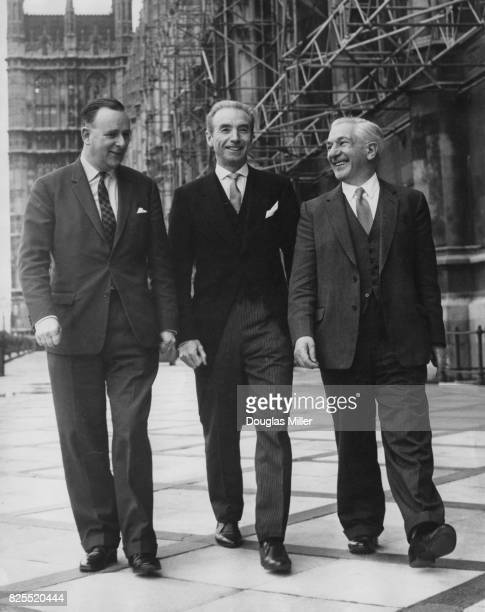 From left to right Labour politician Denis Howell the Minister of State for Sport footballer Sir Stanley Matthews and Ellis Smith the MP for...