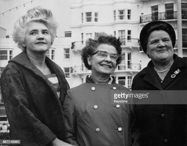 From left to right Labour politicians Jennie Lee Peggy Herbison and Bessie Braddock on the seafront during the Labour Party Conference in Brighton UK...
