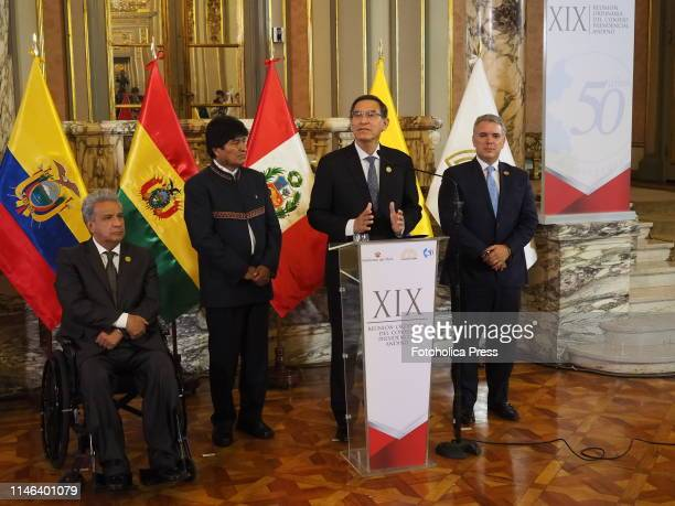 From left to right: Lenin Moreno, President of Ecuador; Evo Morales, President of Bolivia; Martin Vizcarra, President of Peru; Ivan Duque, President...