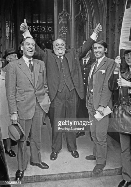 From left to right, Liberal politicians Jeremy Thorpe , Cyril Smith and David Steel outside the Houses of Parliament in London, UK, 2nd November...