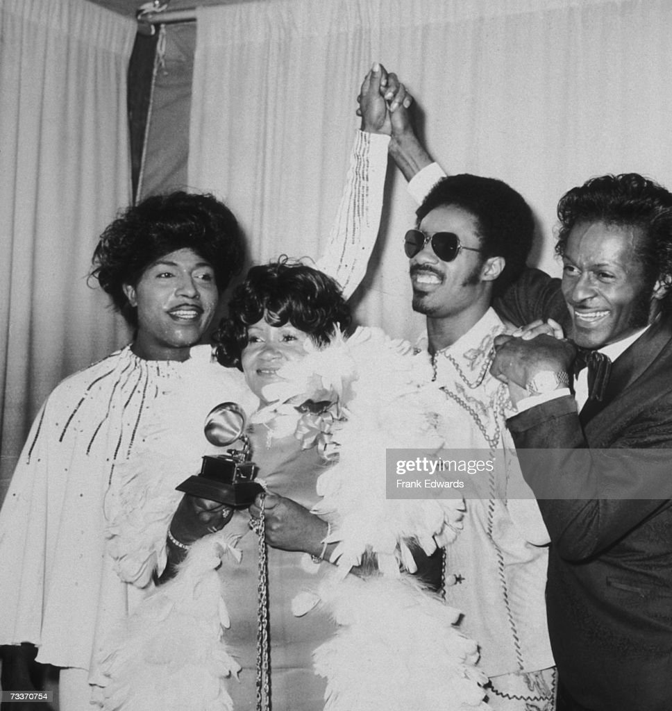 From left to right, Little Richard, Stevie Wonder's mother Lula Mae Hardaway, Stevie Wonder and Chuck Berry at the Grammy Awards in Hollywood, 2nd March 1974.