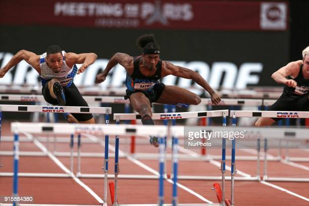 Loic Desbonnes of France and Jarret Eaton of USA compete in 60m Hurdles during the Athletics Indoor Meeting of Paris 2018 at AccorHotels Arena in...