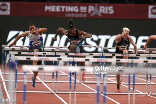 Loic Desbonnes of France Jarret Eaton of USA Simon Krauss of France compete in 60m Hurdles during the Athletics Indoor Meeting of Paris 2018 at...