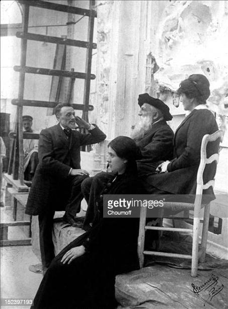 Léonce Bénédite creator and first curator of the Rodin museum his daughter in the foreground French sculptor Auguste Rodin and his niece Miss Coltat...
