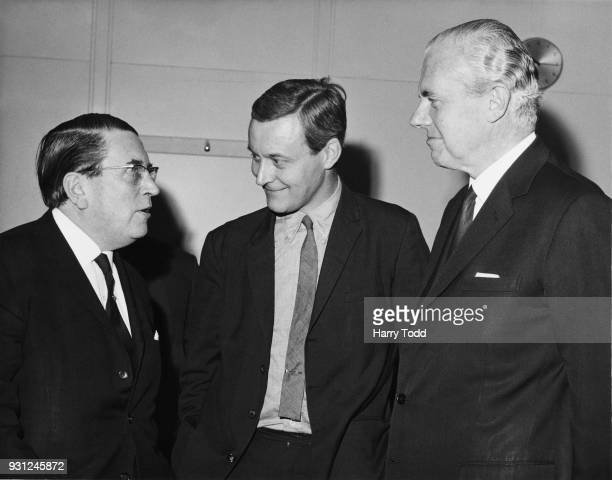 From left to right Lord Peter Ritchie Calder chairman of the government's Metrication Board Anthony Wedgwood Benn the Minister of Technology and...