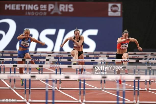 Lotta Harala of Finland Luca Kozak of Hungary Eline Berings of Belgium compete in 60m Hurdles during the Athletics Indoor Meeting of Paris 2018 at...