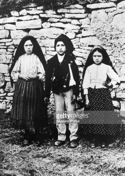 From Left To Right Lucia De Jesus Dos Santos And Her Two Cousins Francisco And Jacinta Marto Aged 7 To 9 Are The Three Little Portuguese Shepherds...