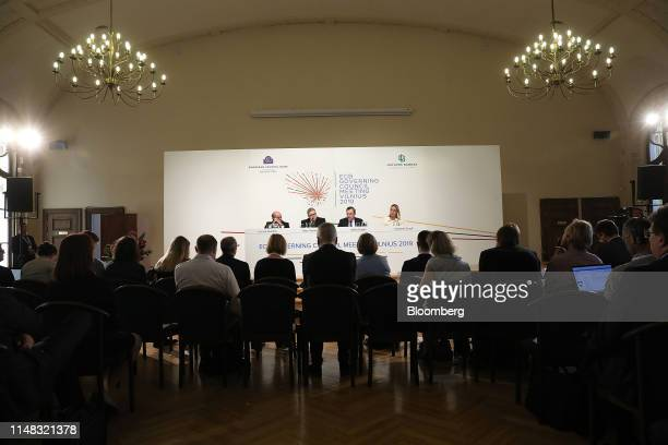 From left to right Luis de Guindos vice president of the European Central Bank Vitas Vasiliauskas Lithuania's central bank governor Mario Draghi...