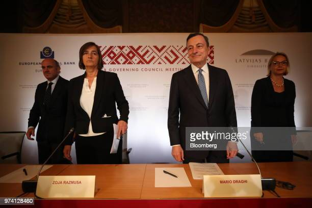 From left to right Luis de Guindos vice president of the European Central Bank Zoja Razmusa deputy governor of the Bank of Latvia Mario Draghi...