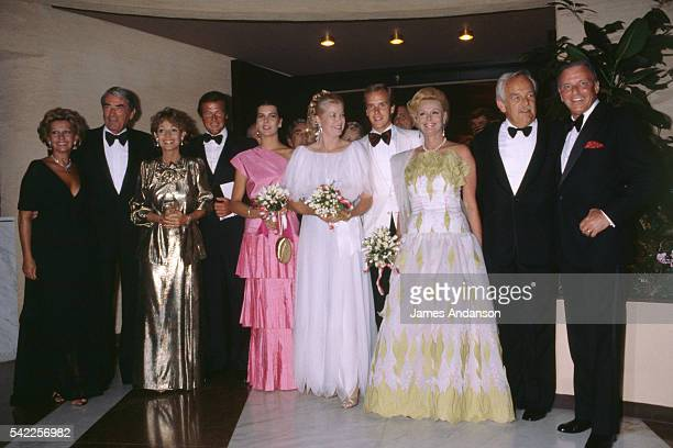 Luisa Mattioli the wife of Roger Moore Gregory Peck and his wife Veronique Passani Roger Moore Princess Caroline of Monaco Princess Grace and her son...