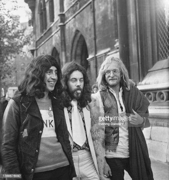 From left to right, magazine editors Richard Neville, Felix Dennis and James Anderson at the Old Bailey in London for their appeal against a...