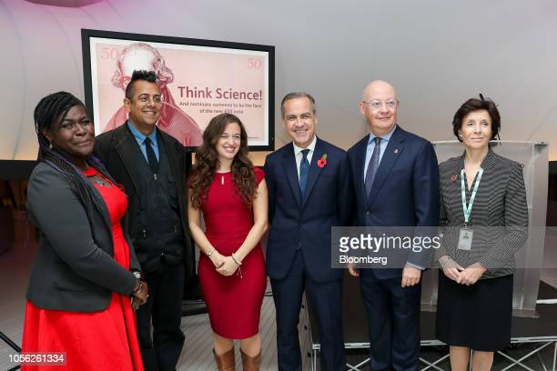 From left to right Maggie AderinPocock space scientist Simon Lehna Singh science author Emily Grossman science broadcaster Mark Carney governor of...