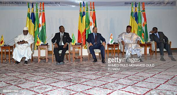 Mali's President Ibrahim Boubacar Keita Chad's President Idriss Deby the host Mauritania President Mohamed Ould Abdel Aziz who currently chairs the...