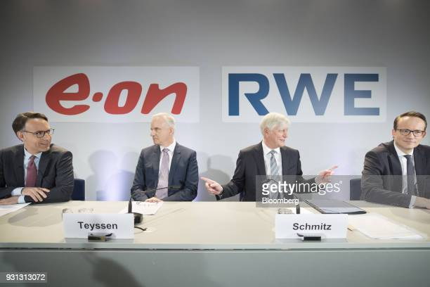 From left to right Marc Spieker chief financial officer of EON SE Johannes Teyssen chief executive officer of EON SE Rolf Schmitz chief executive...