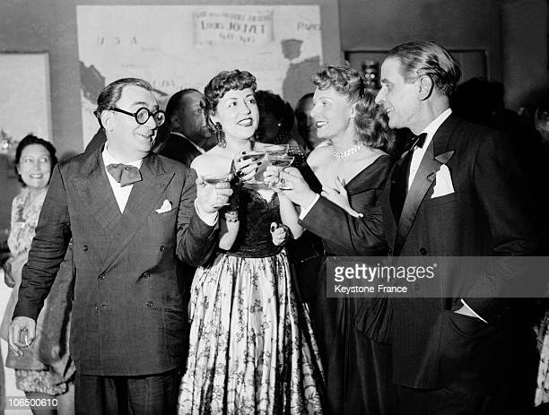 From Left To Right, Marcel Achard, Suzy Delair, Simone Renant Et Pierre Blanchar Celebrating The Premiere Of The Play Nous Irons A Valparaiso On June...