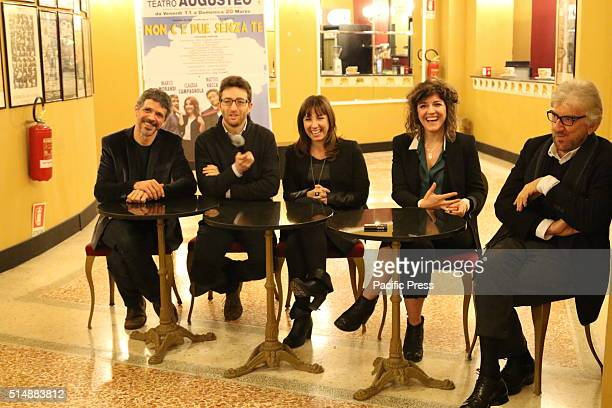 From left to right Marco Morandi Matteo VaccaClaudia CampagnolaCarlotta Proietti and Gigi Proietti during the press conference at the Teatro Augusteo...