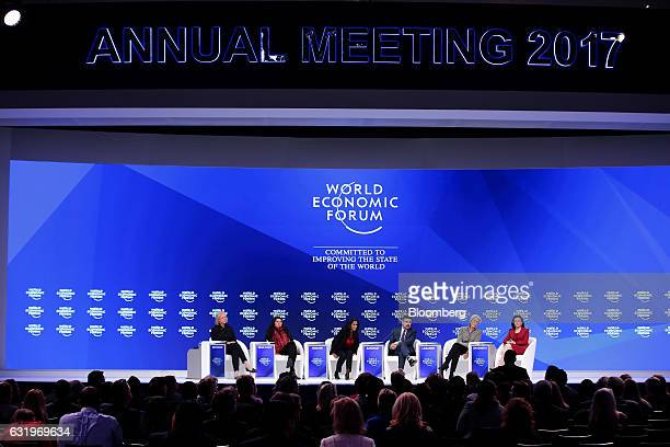 From left to right Margaret Whitman president and chief executive officer of Hewlett Packard Enterprise Co Sharmeen ObaidChinoy filmmaker Zeinab...