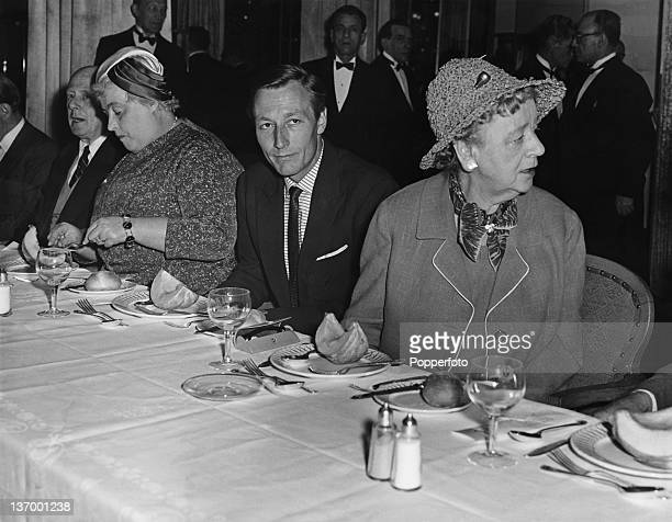From left to right Margery Allingham Mr John Neville and Margaret Irwin attend a Foyles Literary Luncheon in honour of poet Cecil DayLewis CBE to...