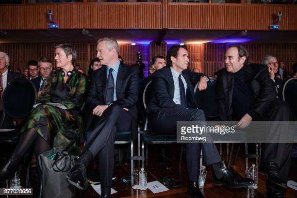 From left to right Margrethe Vestager competition commissioner of the European Commission Bruno Le Maire France's finance minister Alexandre Bompard...