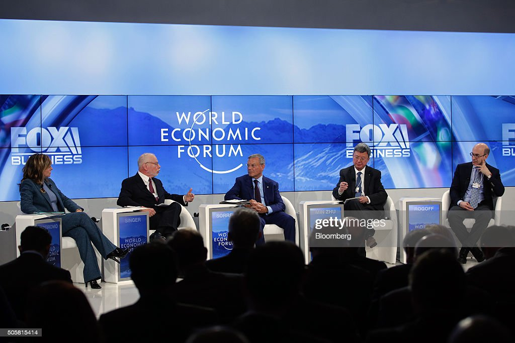 From left to right, Maria Bartiromo, anchor for Fox Business Network, Paul Singer, billionaire and chief executive officer of Elliott Management Corp., Martin Sorrell, chief executive officer of WPP Plc, Zhu Min, deputy managing director of the International Monetary Fund (IMF), and Kenneth Rogoff, professor of economics at Harvard University take part in a panel session during the World Economic Forum (WEF) in Davos, Switzerland, on Wednesday, Jan. 20, 2016. World leaders, influential executives, bankers and policy makers attend the 46th annual meeting of the World Economic Forum in Davos from Jan. 20 - 23. Photographer: Matthew Lloyd/Bloomberg via Getty Images