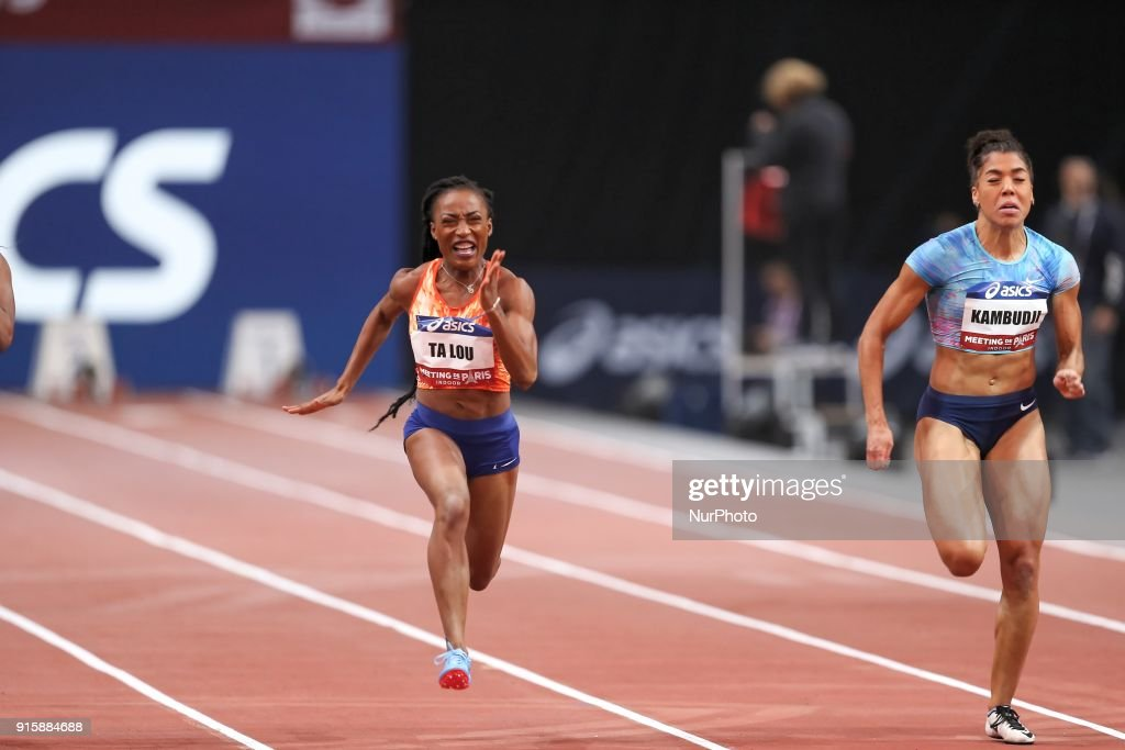 Marie-Josée Ta Lou of Ivory Coast and Mujinga Kambudji of Switzerland compete in 60m during the Athletics Indoor Meeting of Paris 2018, at AccorHotels Arena (Bercy) in Paris, France on February 7, 2018.