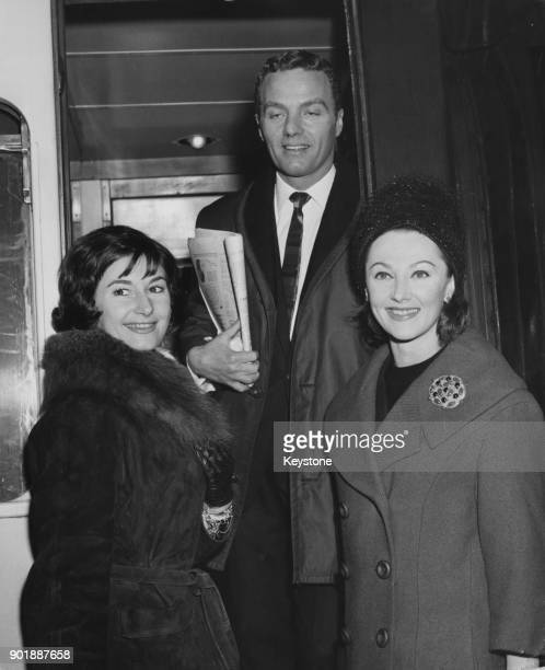 From left to right Marilyn Burr John Gilpin and Irina Borowski of the London Festival Ballet leave Victoria Station in London for a tour of Europe...