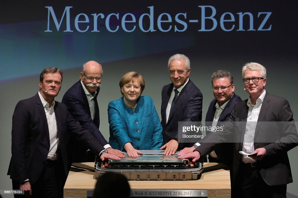 Germany's Chancellor Angela Merkel Attends Daimler AG Battery Factory Groundbreaking Ceremony : News Photo