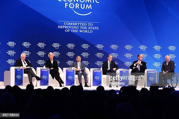 From left to right Martin Wolf chief economics commentator of The Financial Times Christine Lagarde managing director of the International Monetary...