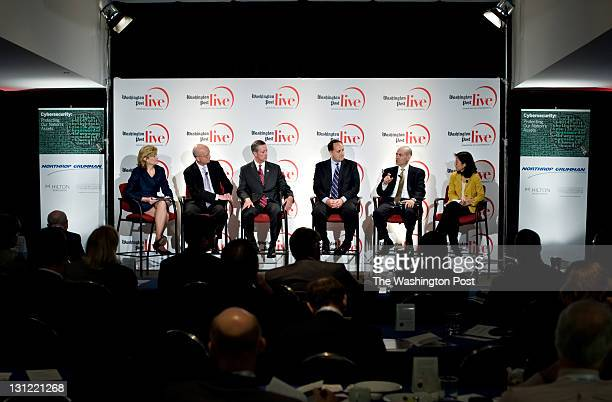 From left to right Mary Jordan leads a panel discussion on Cypersecurity with panelists General Michael Hayden former director Central Intelligence...