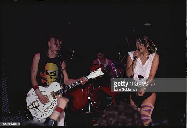 Matthew Ashman on guitar David Barbarossa on drums and Anabella Lwin singing