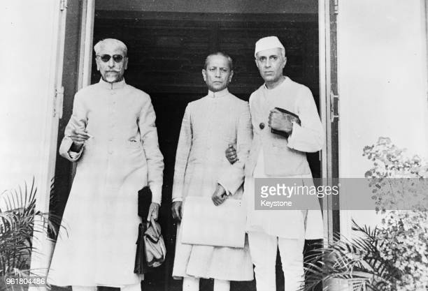 From left to right, Maulana Abul Kalam Azad , President of the Indian National Congress, Asaf Ali, member of the working committee, and Jawaharlal...