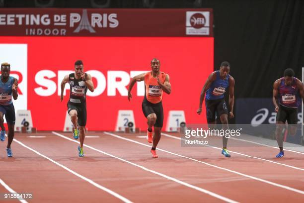 Mebamickael Zeze of France Hassan Tafian of Iran Jimmy Vicaut of France Ojie Edoburun of Great Britain compete in 60m during the Athletics Indoor...