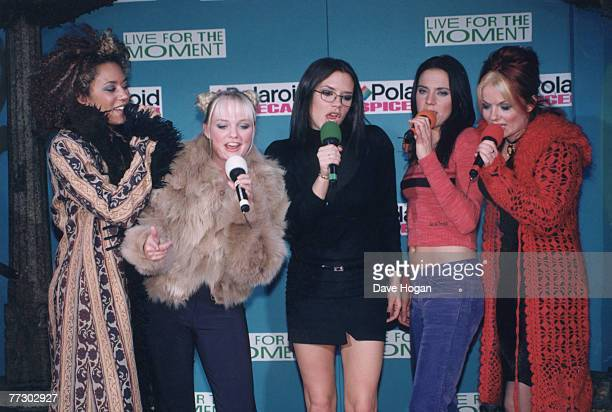 From left to right Melanie Brown Emma Bunton Victoria Beckham Melanie Chisholm and Geri Halliwell of British pop group the Spice Girls during a...