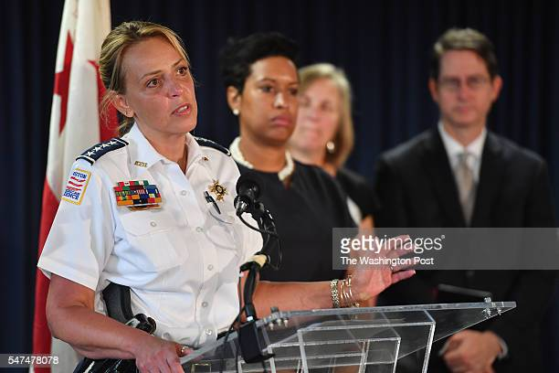 from left to right Metropolitan Police Chief Cathy Lanier Mayor Muriel Bowser along with Dr Jenifer Smith Director of Forensics and Kevin Donahue...