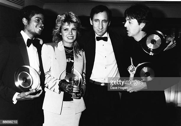 From left to right Michael Jackson Kim Wilde Pete Townshend and Paul McCartney at the British Record Industry Awards in London 16th February 1983...