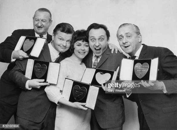 From left to right Michael Miles Benny Hill Dorothy Tutin Ken Dodd and Hughie Green with their silver hearts at the Variety Club of Great Britain...