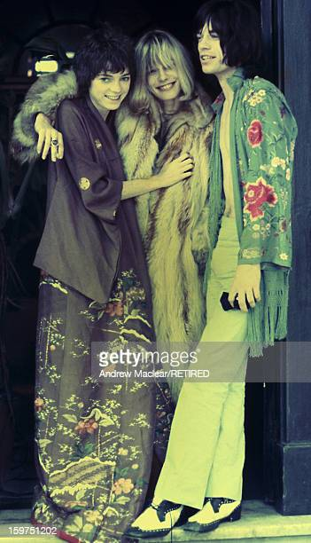 From left to right Michèle Breton Anita Pallenberg and Mick Jagger on the set of Donald Cammell and Nicolas Roeg's psychological thriller...