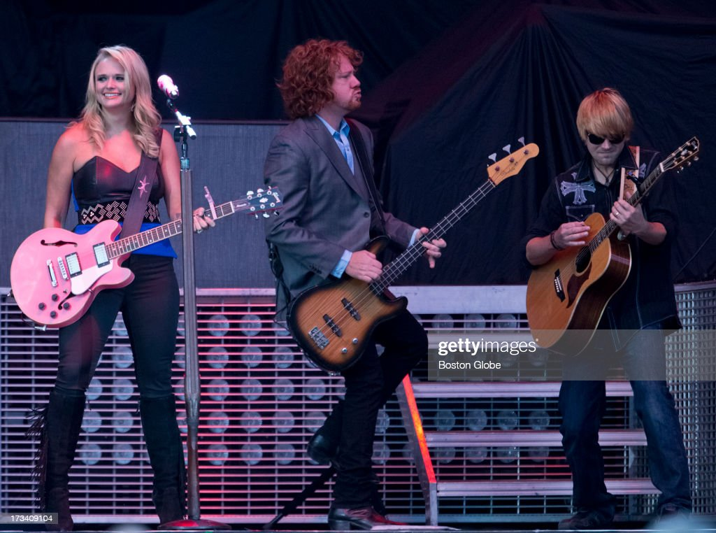 Miranda Lambert, Aden Bubeck and Scotty Wray during the opening act for Jason Aldean in concert at Fenway Park, Friday, July 12, 2013.