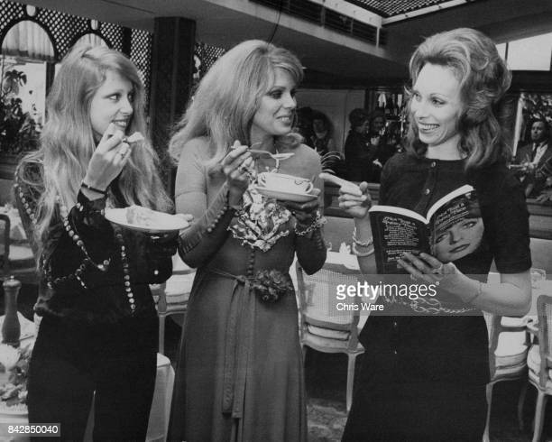 From left to right models Pattie Harrison nee Boyd Joanna Lumley and Gaynor Millington try out recipes from Millington's new cookery book 'Not Just A...