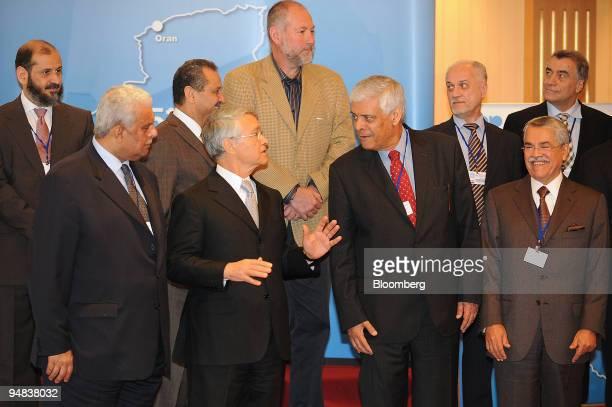 From left to right Mohammed alAleem Kuwait's acting oil minister Abdullah bin Hamad alAttiyah Qatar's oil minister Shokri Ghanem chairman of Libya's...