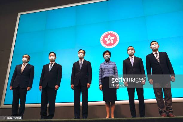 From Left to Right Mr Alfred Sit Winghang Mr Christopher Hui Chingyu Mr Patrick Nip TakKuen Chief Executive Carrie Lam Cheng YuetNgor Mr Erick Tsang...