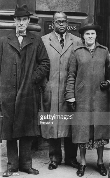 From left to right Mr R Bridgeman physician and equal rights campaigner Dr Harold Moody and Miss D Woodham circa 1940