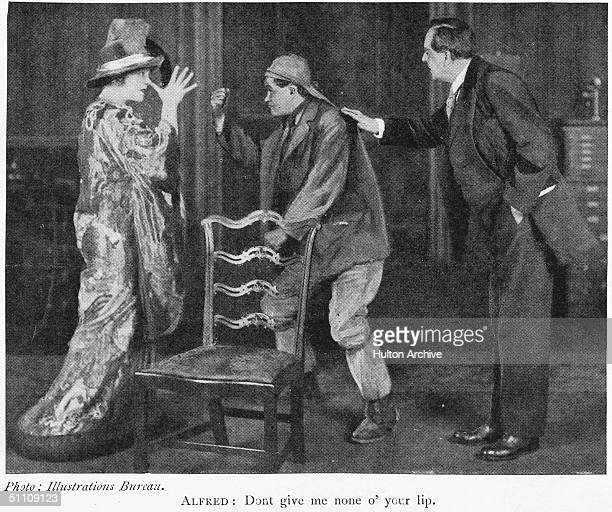 From left to right, Mrs Patrick Campbell as Cockney flower girl Eliza Doolittle, Edmund Gurney as her father Alfred, and English actor-manager...